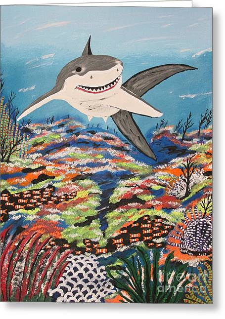 White Shark Paintings Greeting Cards - IM Back Greeting Card by Jeffrey Koss