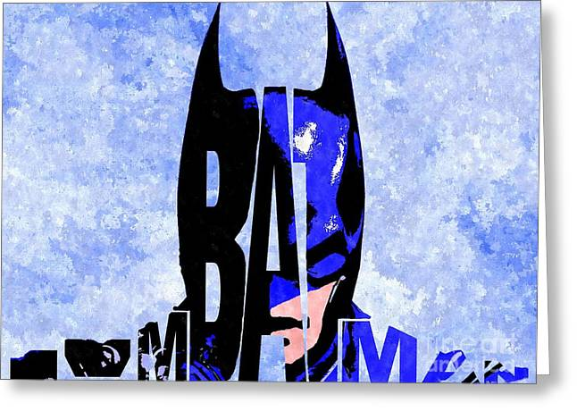Gotham City Mixed Media Greeting Cards - Im Batman Typography Greeting Card by Daniel Janda