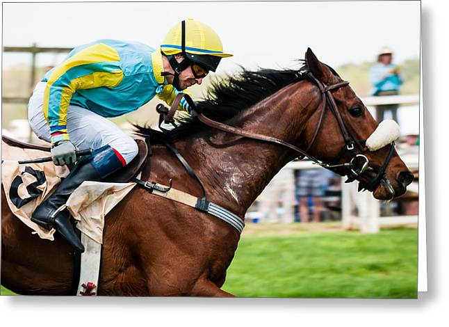 Steeplechase Race Greeting Cards - Im Getting There Greeting Card by Robert L Jackson