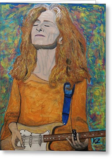 Slide Paintings Greeting Cards - Im in the mood for Bonnie Raitt. Greeting Card by Ken Zabel