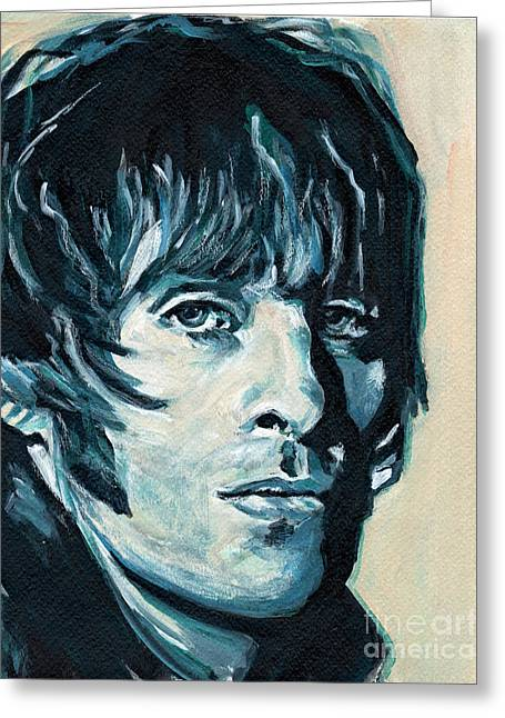 Tablets Greeting Cards - Liam Gallagher Greeting Card by Tanya Filichkin