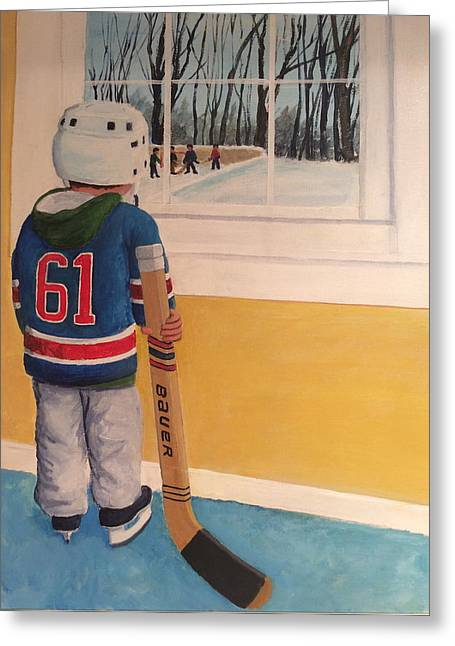 Youth Hockey Paintings Greeting Cards - Im Ready Greeting Card by Ron  Genest
