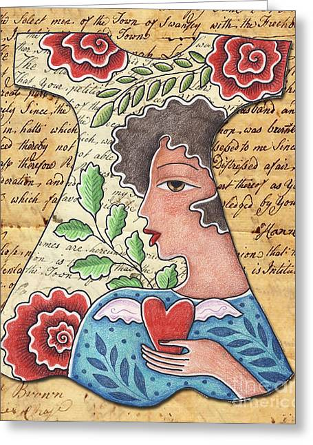Self-designed Dress Greeting Cards - Im wearing my heart Greeting Card by Elaine Jackson