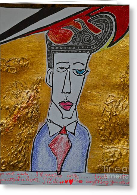 Print On Acrylic Drawings Greeting Cards - Im your man - sung by Leonard Cohen and  Doctor Faustus.Happy New Year 2013.Viewed 265 Times  Greeting Card by  Andrzej Goszcz
