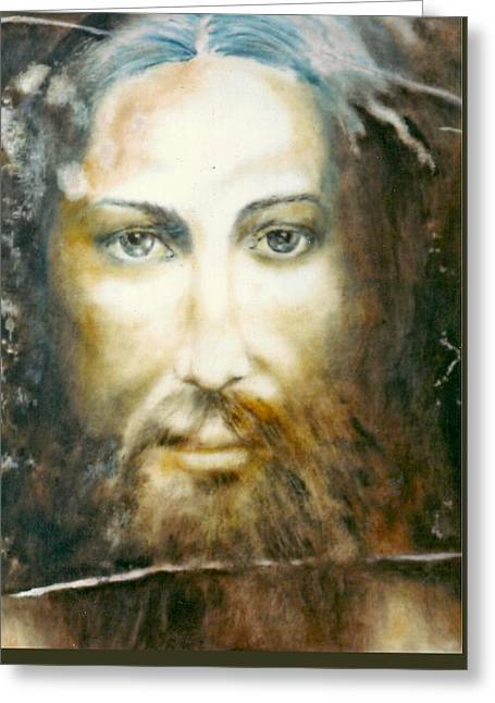 Altruism Paintings Greeting Cards - Image of Christ Greeting Card by Henryk Gorecki