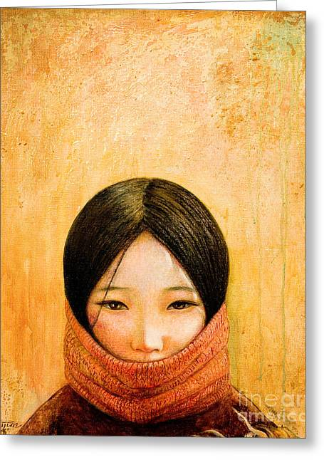 Girl Greeting Cards - Image of Tibet Greeting Card by Shijun Munns