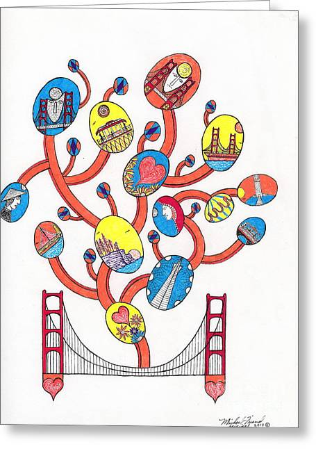 Buildings By The Ocean Greeting Cards - Image Vine of Bridge and S.F. Greeting Card by Michael Friend