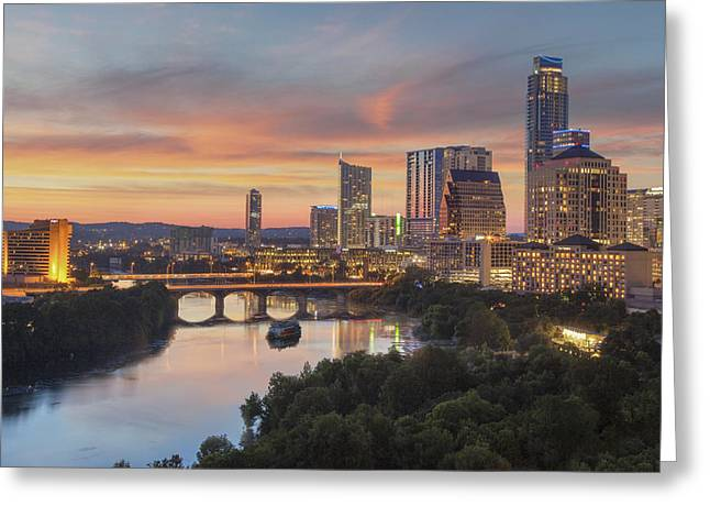 Skyline Photos Greeting Cards - The Austin Skyline on a Summer Evening 1 Greeting Card by Rob Greebon