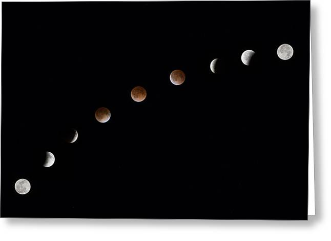 Blood Moon Greeting Cards - Images from Texas  Phases of the Blood Moon  April 15 2014 Greeting Card by Rob Greebon