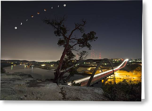 Blood Moon Greeting Cards - Lunar Eclipse over the 360 Bridge and the Austin Skyline Greeting Card by Rob Greebon