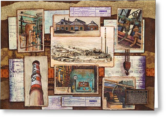Machinery Mixed Media Greeting Cards - Images of Asarco Greeting Card by Candy Mayer