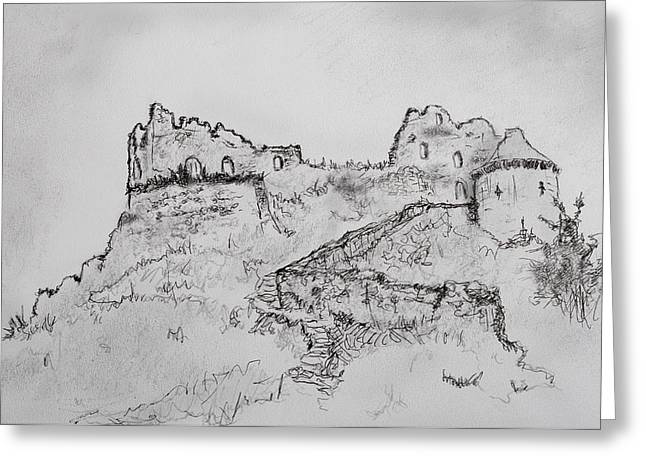 Ancient Ruins Drawings Greeting Cards - Images of Austria Greeting Card by John Bell