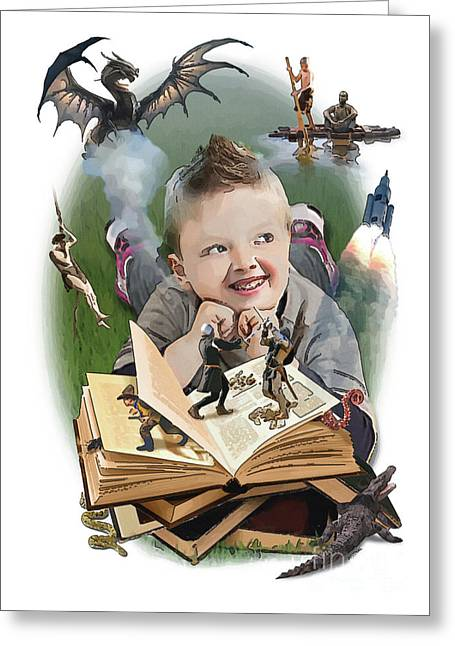 Huckleberry Digital Art Greeting Cards - Imaginary Books Greeting Card by Joseph Juvenal