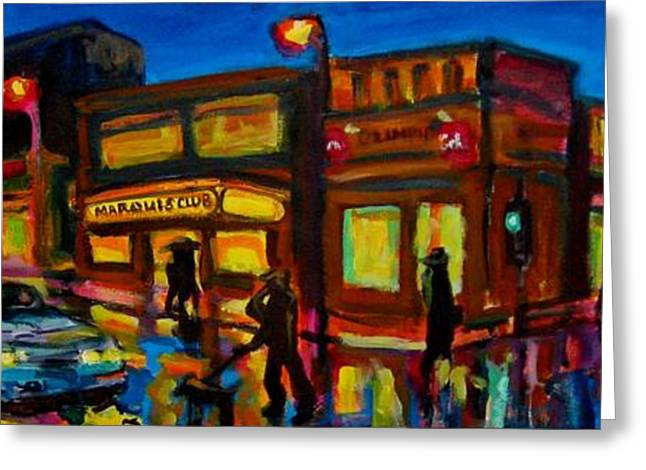 Store Fronts Greeting Cards - Imaginary Busy City Corner  Greeting Card by John Malone