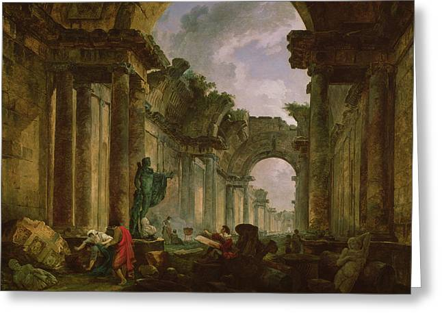 Sculptures Greeting Cards - Imaginary View Of The Grand Gallery Of The Louvre In Ruins, 1796 Oil On Canvas Greeting Card by Hubert Robert