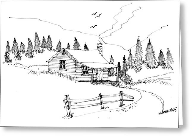 Mountain Cabin Drawings Greeting Cards - Imagination 1993 - Mountain Cabin Greeting Card by Richard Wambach
