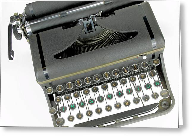 Manual Greeting Cards - Imagination typewriter Greeting Card by Rudy Umans