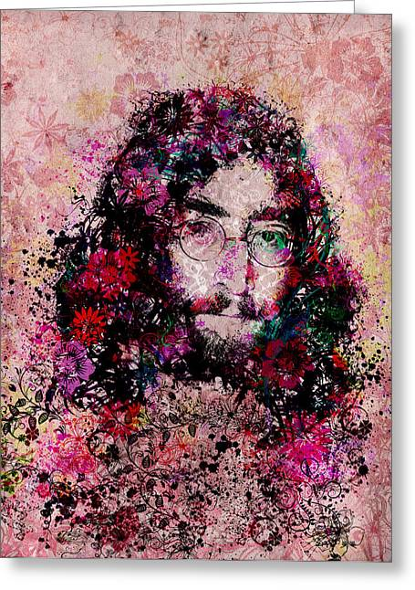 The Beatles. Celebrity Portraits Greeting Cards - Imagine 3 Greeting Card by MB Art factory