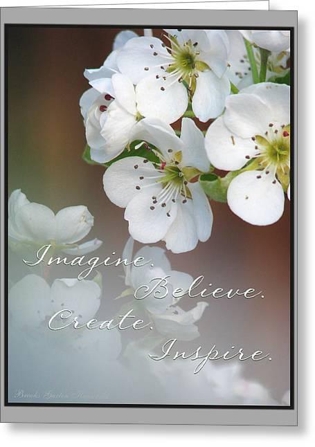 Motivational Poster Greeting Cards - Imagine. Believe. Create. Inspire. Greeting Card by Brooks Garten Hauschild