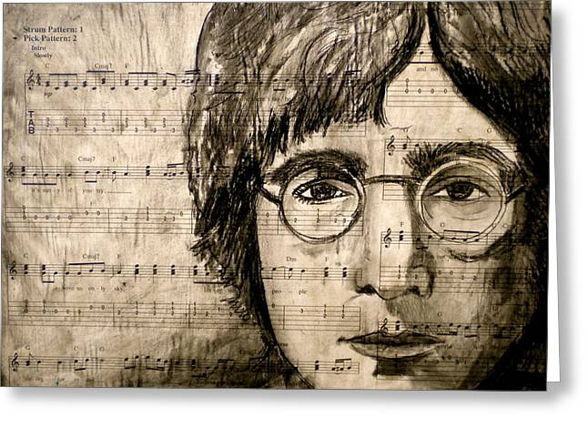 Lennon Mixed Media Greeting Cards - Imagine Greeting Card by Debi Starr