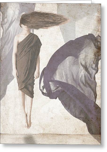 Floating Girl Greeting Cards - Imagine Greeting Card by Fern Evans