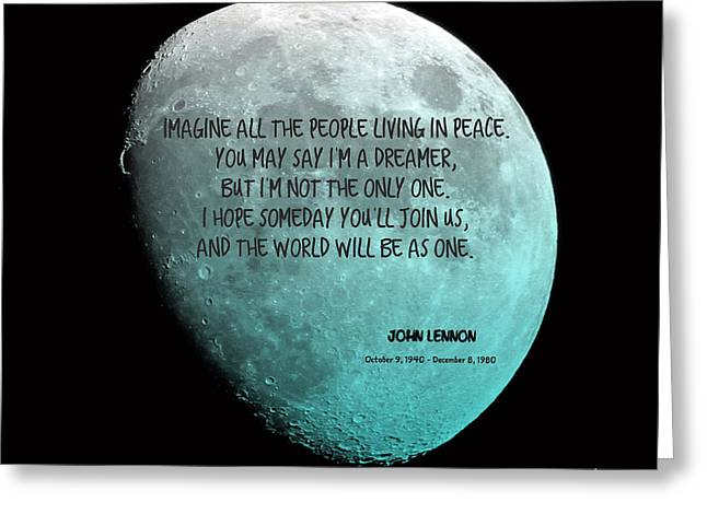 John Lennon Quote Greeting Cards - Imagine Greeting Card by J Pearson  Photos