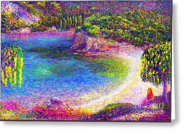 Imagine, Meditating In Beautiful Bay,seascape Greeting Card by Jane Small