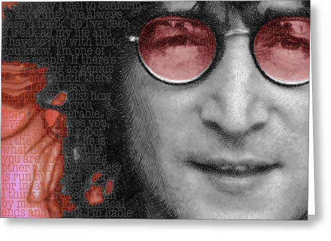 British Celebrities Mixed Media Greeting Cards - Imagine John Lennon Again Greeting Card by Tony Rubino