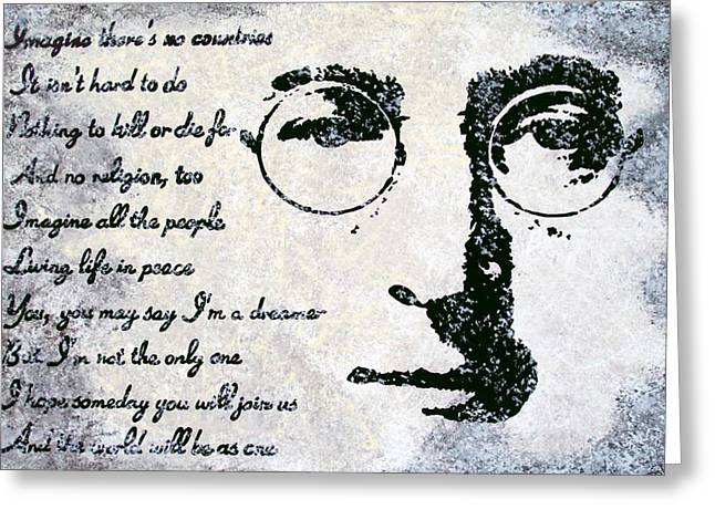 Imagine Greeting Cards - Imagine-John Lennon Greeting Card by Bryan Dubreuiel