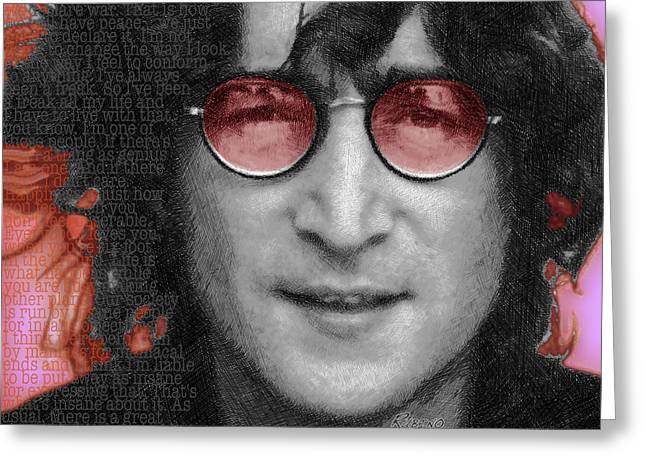 British Celebrities Mixed Media Greeting Cards - Imagine John Lennon  Greeting Card by Tony Rubino