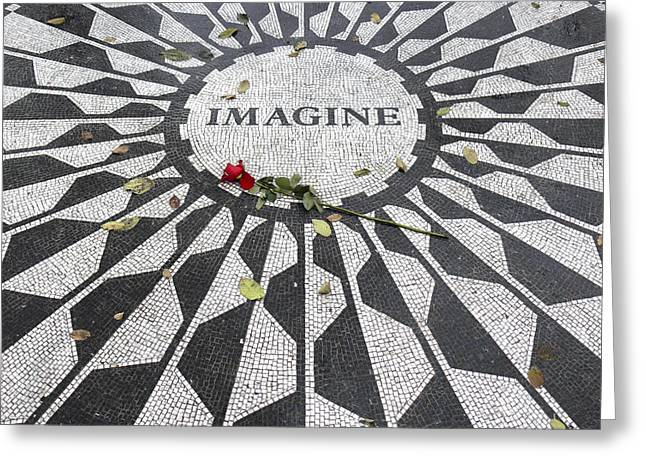 John Lennon Art Greeting Cards - Imagine Mosaic Greeting Card by Mike McGlothlen