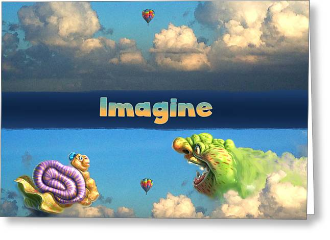 Imagine Greeting Cards - Imagine snail and ogre Greeting Card by Aaron Blaise