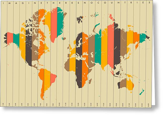 Abstract World Map Greeting Cards - Imagine Theres No Countries 2 Greeting Card by Jazzberry Blue