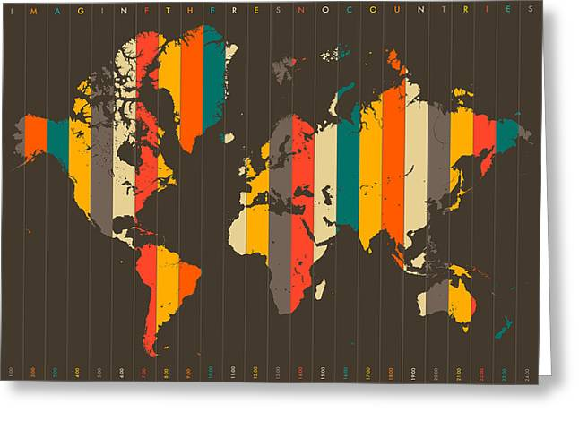 Abstract World Map Greeting Cards - Imagine Theres No Countries Greeting Card by Jazzberry Blue