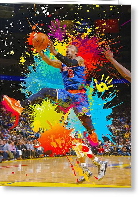 Knicks Greeting Cards - Iman Shumpert of the New York Knicks shoots Greeting Card by Don Kuing