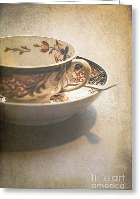 Teaspoon Greeting Cards - Imari cup and saucer Greeting Card by Jan Bickerton