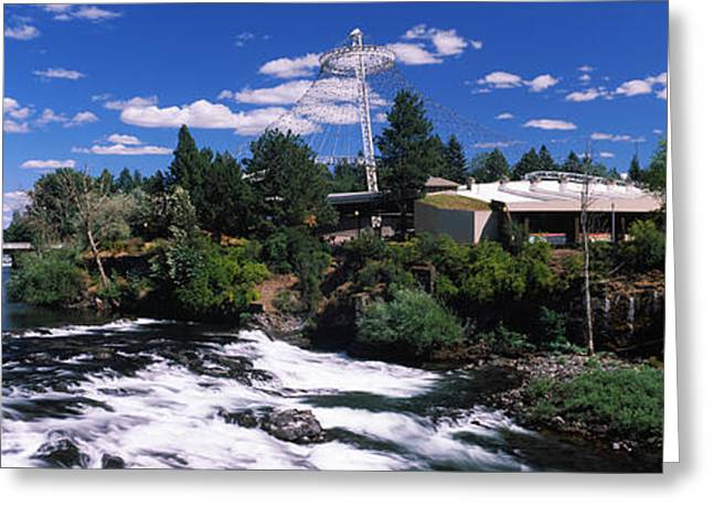 Imax Theater With Spokane Falls Greeting Card by Panoramic Images