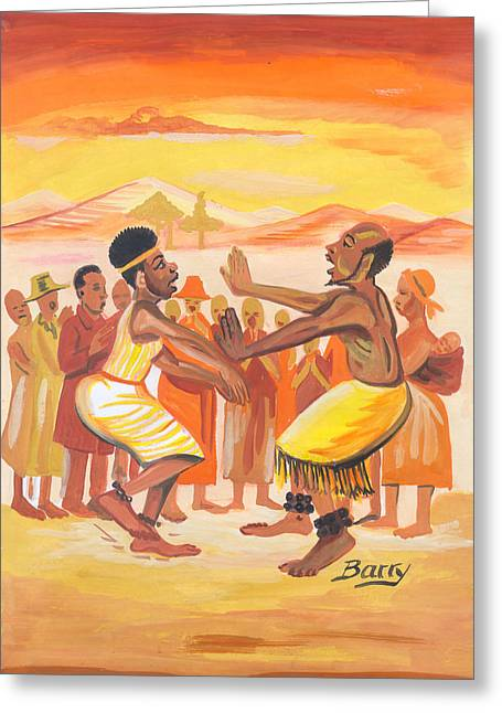 Emmanuel Baliyanga Greeting Cards - Imbiyino Dance from Rwanda Greeting Card by Emmanuel Baliyanga
