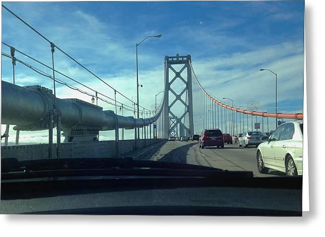 San Francisco Bay Pyrography Greeting Cards - Bay Bridge Headed for San Francisco Greeting Card by DUG Harpster