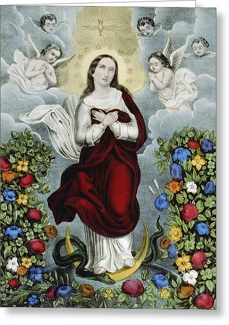 Virgin Mary Drawings Greeting Cards - Immaculate Conception Circa 1856  Greeting Card by Aged Pixel