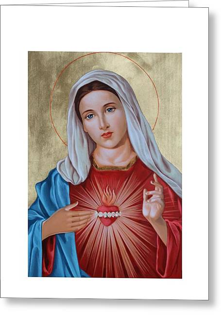Immaculate Heart Greeting Cards - Immaculate Heart of Mary Greeting Card by Janeta Todorova