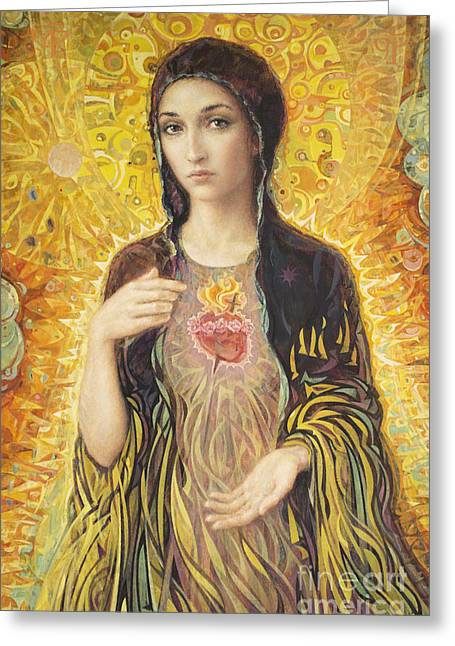 Acrylic Greeting Cards - Immaculate Heart of Mary olmc Greeting Card by Smith Catholic Art