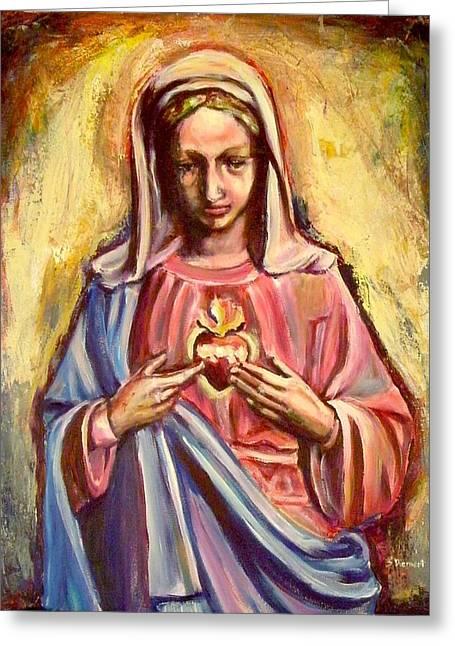 Sheila Diemert Greeting Cards - Immaculate Heart Greeting Card by Sheila Diemert