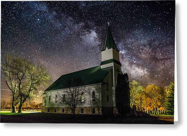 Dark Skies Greeting Cards - Immanuel Lutheran Church Greeting Card by Aaron J Groen