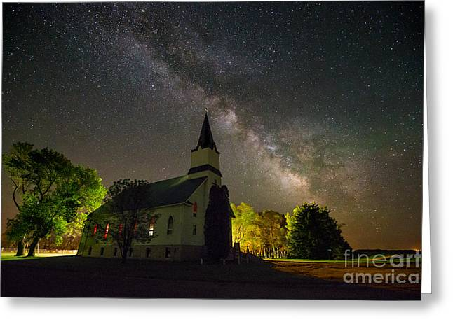 Dark Skies Greeting Cards - Immanuel Milky Way Greeting Card by Aaron J Groen