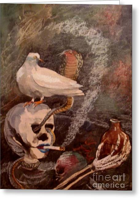Alertness Paintings Greeting Cards - Immature Death Greeting Card by S K Chowdhury