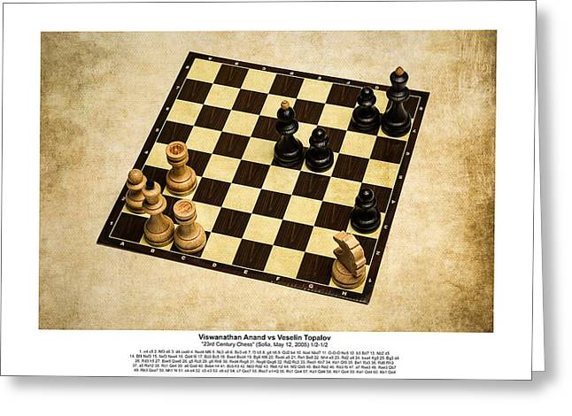Chess Rook Greeting Cards - Immortal Chess - Anand vs Topalov 2005 - Moves Greeting Card by Alexander Senin