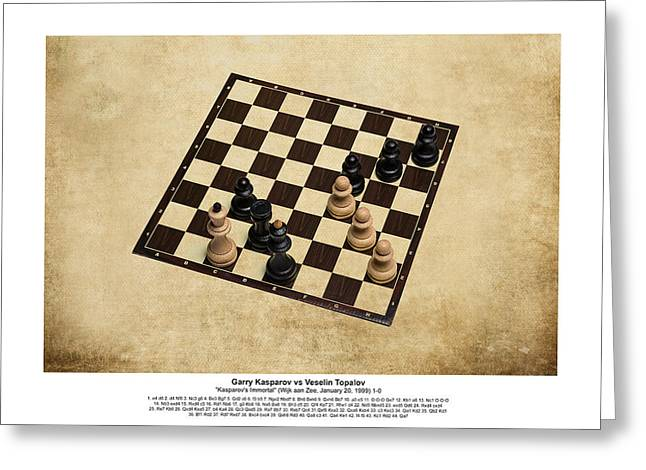 Chess Rook Greeting Cards - Immortal Chess - Kasparov vs Topalov 1999 - Moves Greeting Card by Alexander Senin