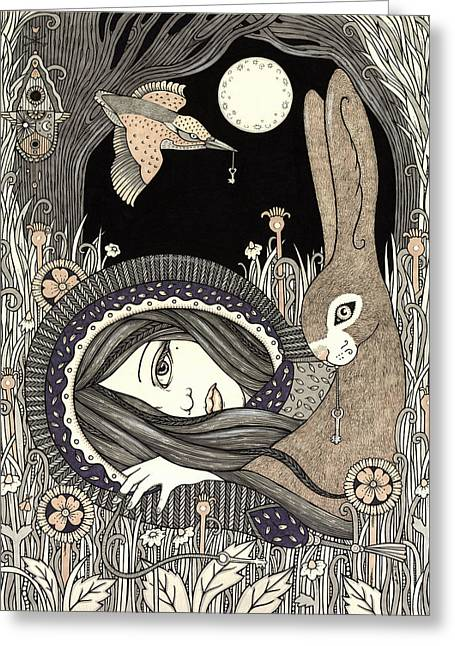 Goddess Drawings Greeting Cards - Imogen Greeting Card by Anita Inverarity