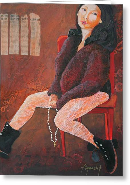 Black Boots Mixed Media Greeting Cards - Imogene is Bored Greeting Card by Lynn Chatman